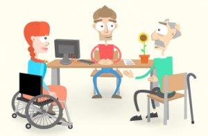 Mia und Franz werden von Tom beraten. Sie sitzen an seinem Schreibtisch.