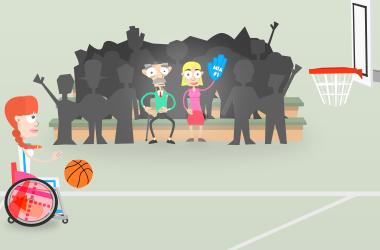 Mia spielt Basketball vor einem Publikum.