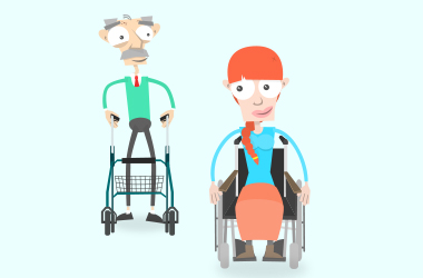 Hilfsmittel: Franz bekommt einen neuen Rollator. Er folgt Mia, die losfährt.