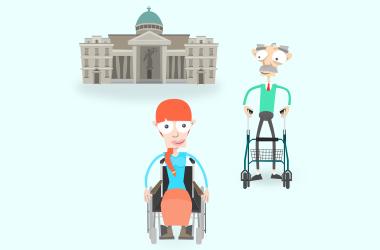 Rechtliche Situation: Mia & Franz gehen gemeinsam zum Gerichts-Gebäude.