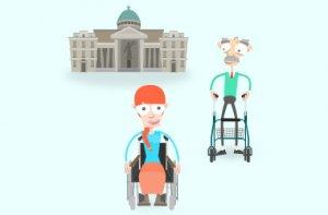 Mia und Franz gehen gemeinsam zum Gerichtsgebäude.