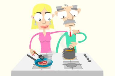 Wohnen & Umfeld: Lori & Franz kochen gemeinsam in der Küche.