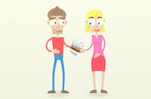 Tom gibt Lori eine Broschüre, die barrierefrei ist.