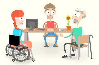 Mia und Franz werden von Tom beraten. Sie sitzen an seinem Schreib-Tisch.