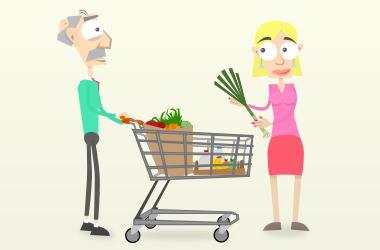 Franz und Lori gehen gemeinsam einkaufen.