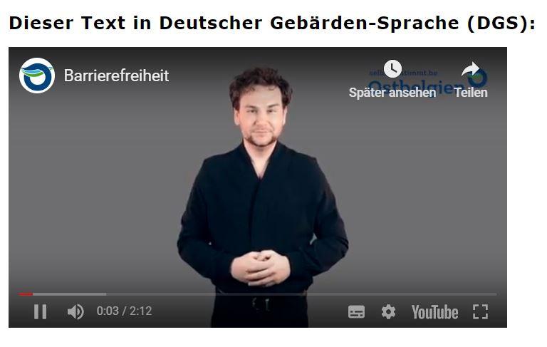 Jeder Text ist auf Deutscher Gebärdensprache übersetzt.